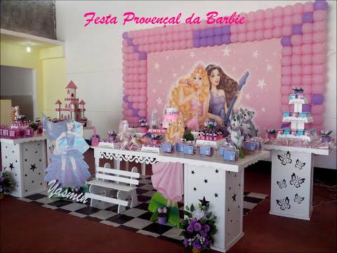 Decora??o de festa Proven?al infantil Barbie - YouTube