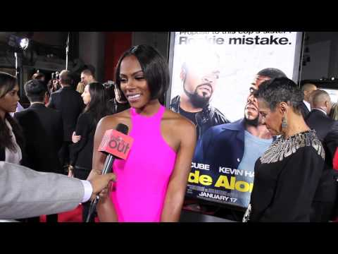 Tika Sumpter graces the 'Ride Along' Red Carpet wearing Michael Costello