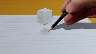 3D Trick Art on Paper | Floating Cube | Drawing 3D Art
