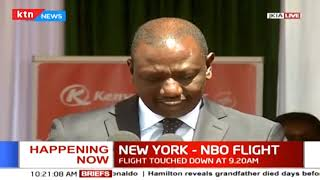 DP Ruto welcomes the first KQ flight