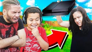 Kid gets CAUGHT Playing Fortnite while GROUNDED! DESTROYS WRONG SONS PS4*