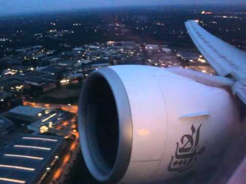Powerful Night Takeoff from Hamburg -  Emirates Boeing 777