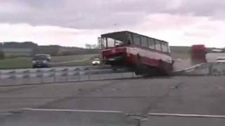 Crash Barrier Test with a Bus goes wrong