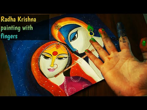 Radha Krishna painting/abstract painting Radha Krishna/painting with fingers