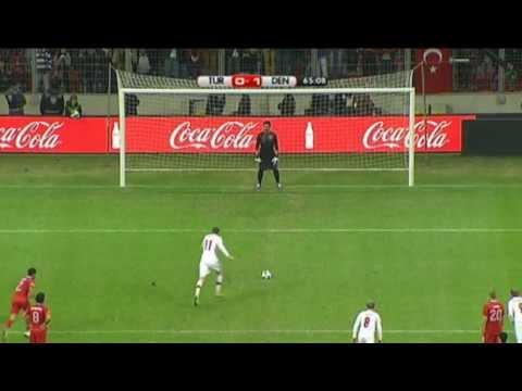 Nicklas Bendtner penalty GOAL for Denmark v Turkey!