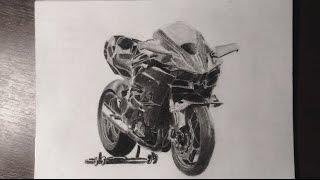 Kawasaki H2R - Charcoal & Graphite Drawing