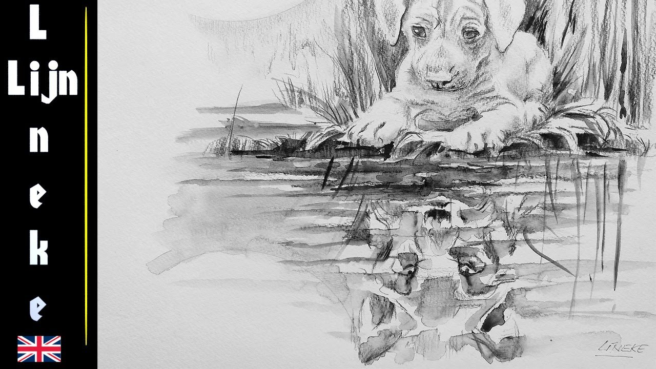 Draw puppy and wolf reflection watercolor pencil for beginners