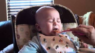 Baby eats turkey for the first time
