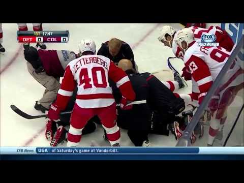 Niklas Kronwall Hit to the Head- SCARY INJURY- Detroit Red wings vs. Colorado Avalanche