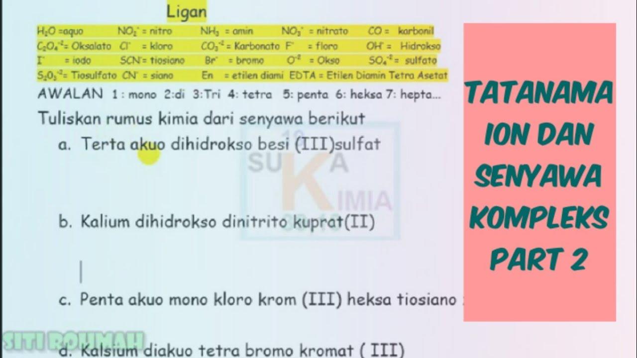 Tatanama Ion Dan Senyawa Kompleks Part 2 Youtube