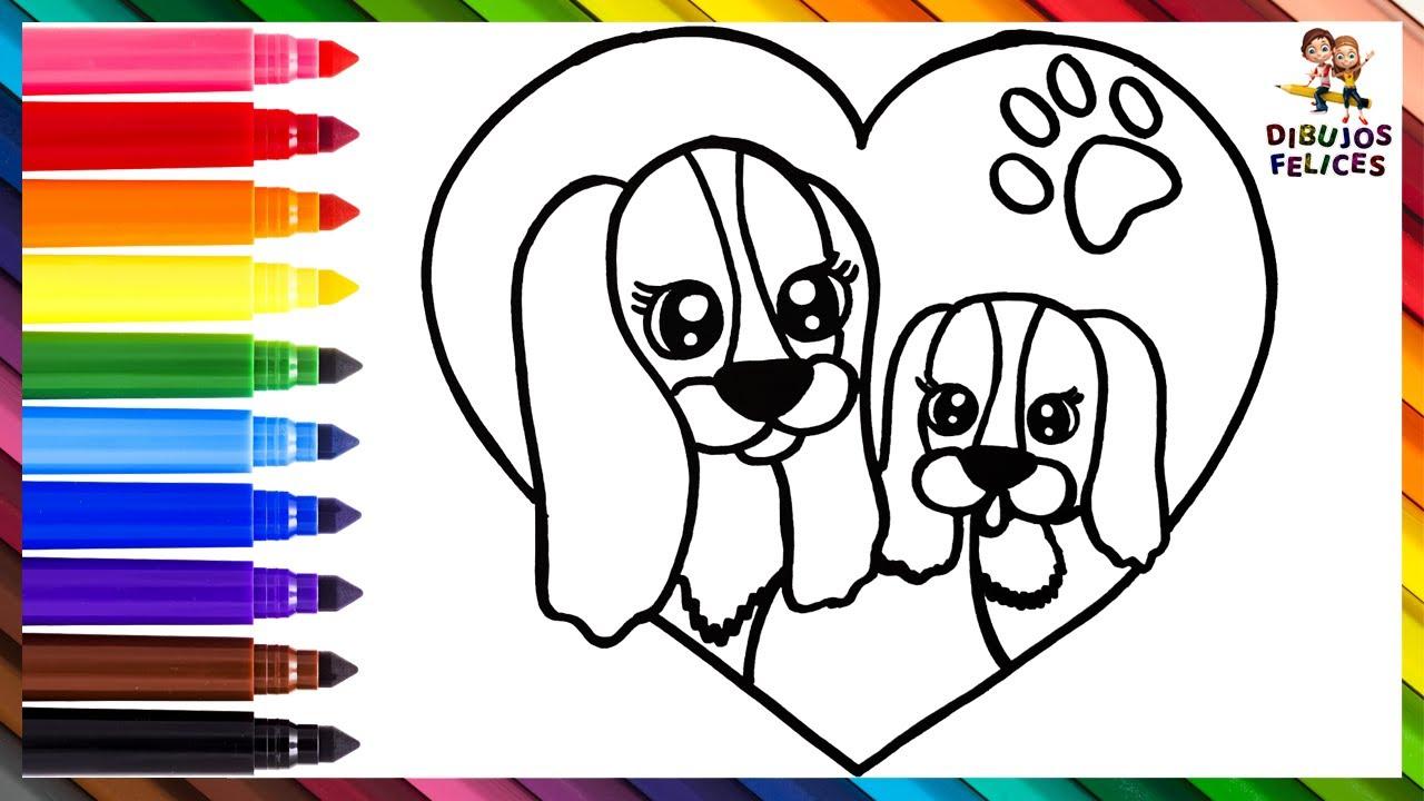 Dibuja y Colorea A Una Mamá Perrita Con Su Cachorro 🐶🐾💖 Dibujos Para Niños