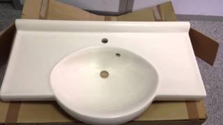 Мивка за баня Imagine 90(Мивка за баня от полимербетон Imagine 90см. Едно издадено централно корито и симетрични странични плот. http://www.gera..., 2014-01-24T08:13:04.000Z)