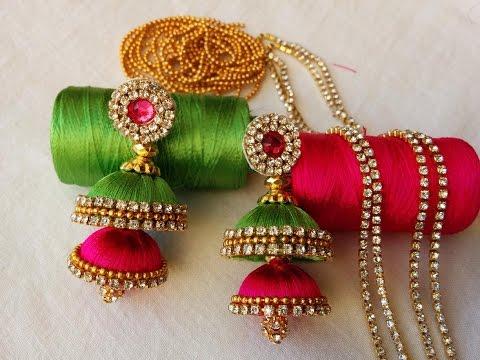 1e1601cdb making of double butta silk thread jhumkas with pink kundans   Fancy item silk  thread jhumkas - YouTube