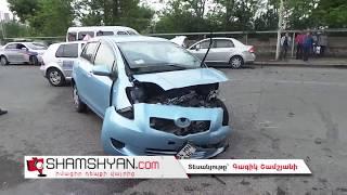 Խոշոր ավտովթար Երևանում  Ծարավ Աղբյուրի փողոցում բախվել են 2 Nissan ները և Volkswagen Golf ը