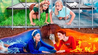 Escaping from the Four Elements Jail! Fire Girl, Water Girl, Air Girl and Earth Girl!
