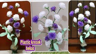 Ide membuat bunga dari kresek bekas   DIY plastic bag waste flowers