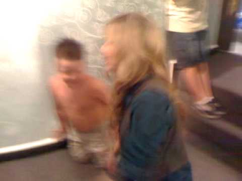 Jennette McCurdy and Ethan Munck fooling around during break