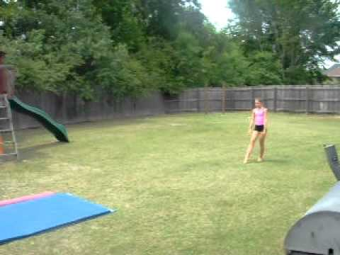 Ashley doing gymnastics in the backyard YouTube