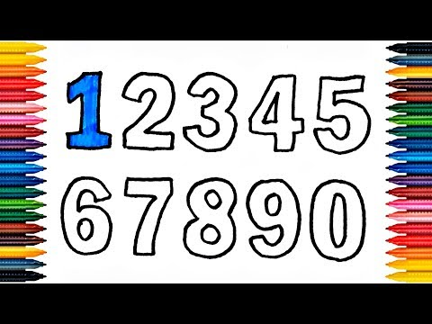 Numbers 123456789 Drawing Numbers How to Draw And Paint Numbers Coloring Book Fun Painting