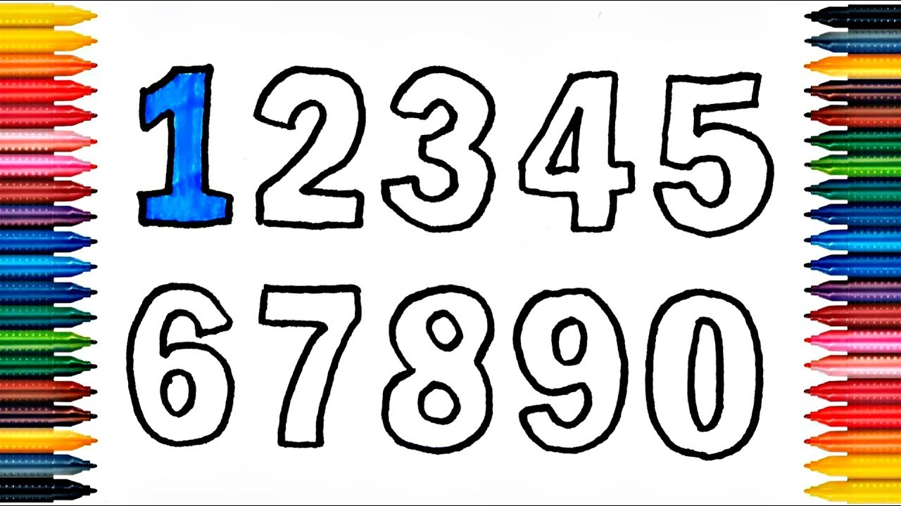 Numbers 123456789 Drawing How To Draw And Paint Coloring Book Fun Painting
