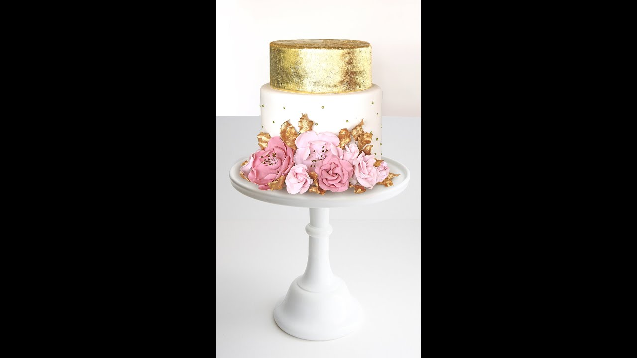 Pink and Gold cake - YouTube