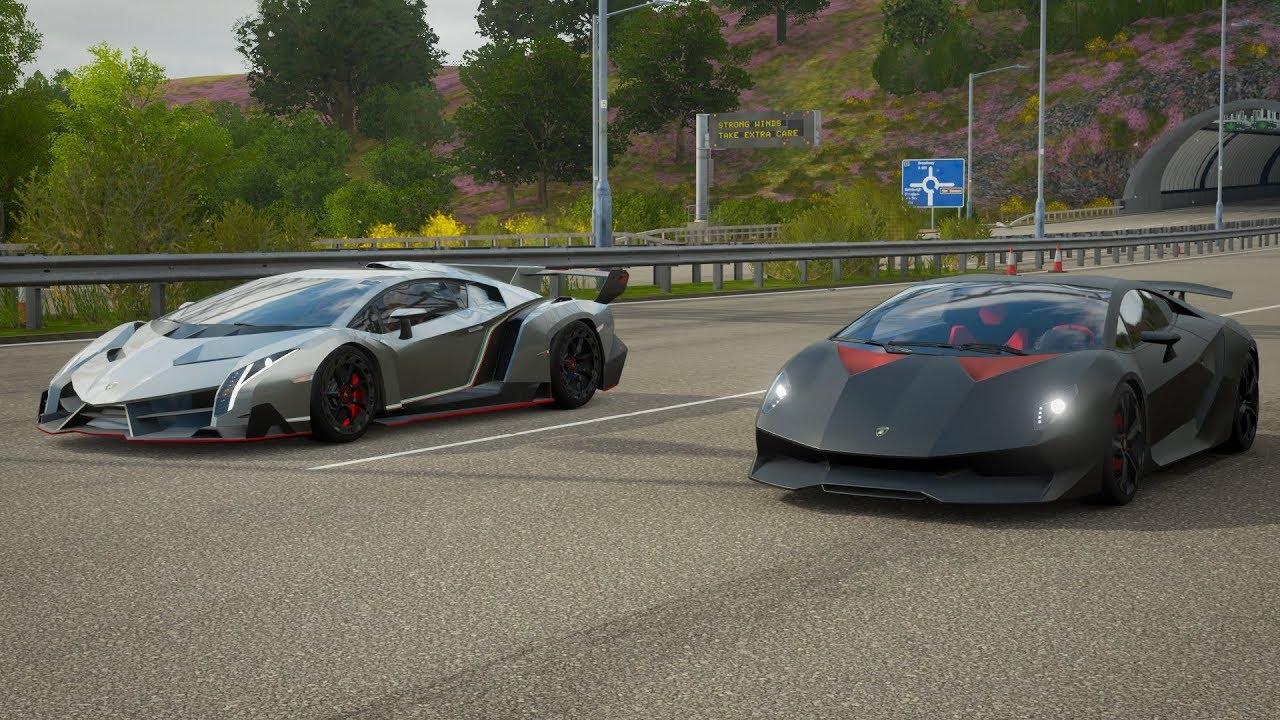 Forza Horizon 4 Drag Race Lamborghini Veneno Vs Sesto Elemento