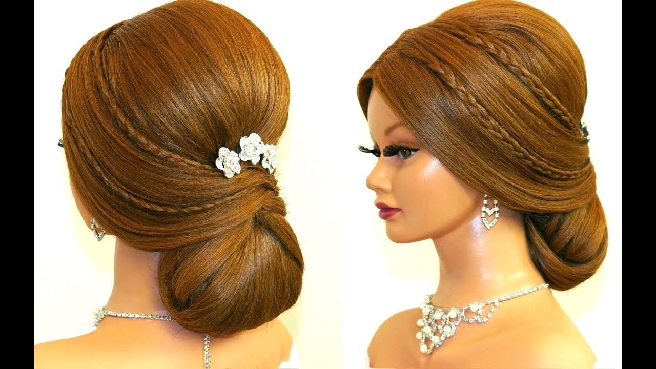 Bridal hairstyle for long hair tutorial Romantic prom updo