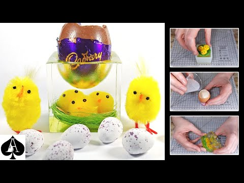 Easter Chicks Egg Cup or Trinket Box Cube from Epoxy Resin | Tutorial | DIY