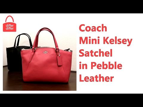 35dd35fce Coach Mini Kelsey Satchel in Pebble Leather 57563 - YouTube