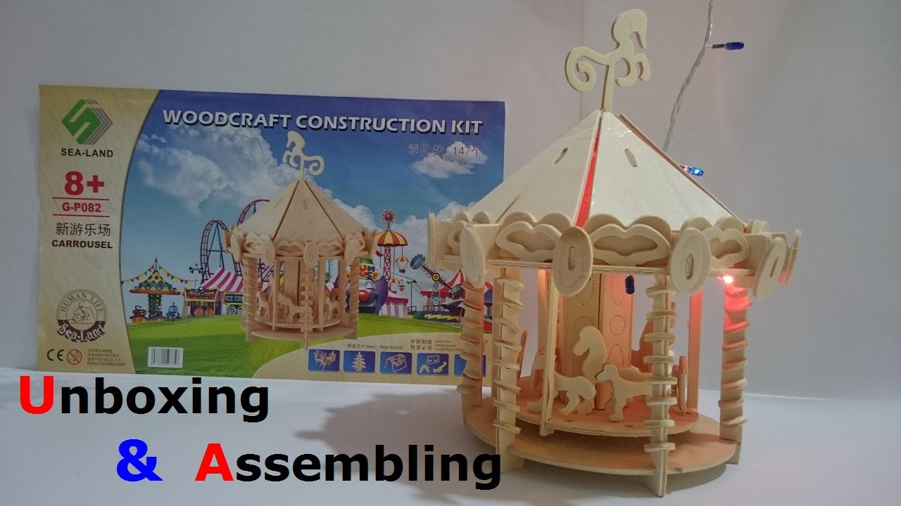 Kids wood craft kits - Toys For Kids Mini Carousel Woodcraft Construction Kit Video Unboxing Assembling