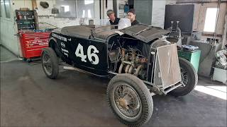 1932 Ford Roadster Race Car, Winfield Model B engine. Red Head crack repair.