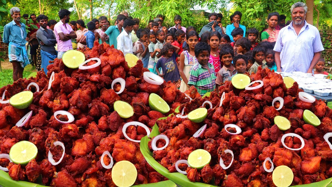 15 KG CHICKEN PAKODA | CHICKEN PAKODA FOR NEEDY PEOPLE IN VILLAGE | CHICKEN PAKORA | FARMER COOKING