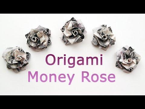 Nice Money ROSE Origami Out Of One Dollar Tutorial DIY Folded No Glue