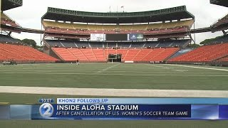 Gambar cover A look at Aloha Stadium's field conditions after canceled soccer match
