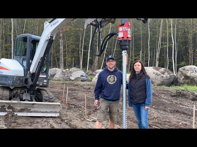 Our LAST Attempt!!! Installing EARTH Anchors for our OFF-GRID Tiny HOUSE Build in the WOODS