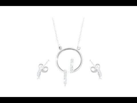 2c5f5eab2 Šperky - Sada zo striebra 925, náušnice a náhrdelník - obruč a číre  zirkónové línie