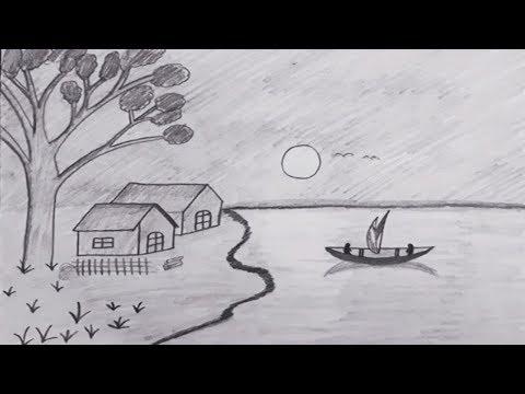 Kara Kalem Manzara Resmi Cizimi How To Draw Moonlight Night With