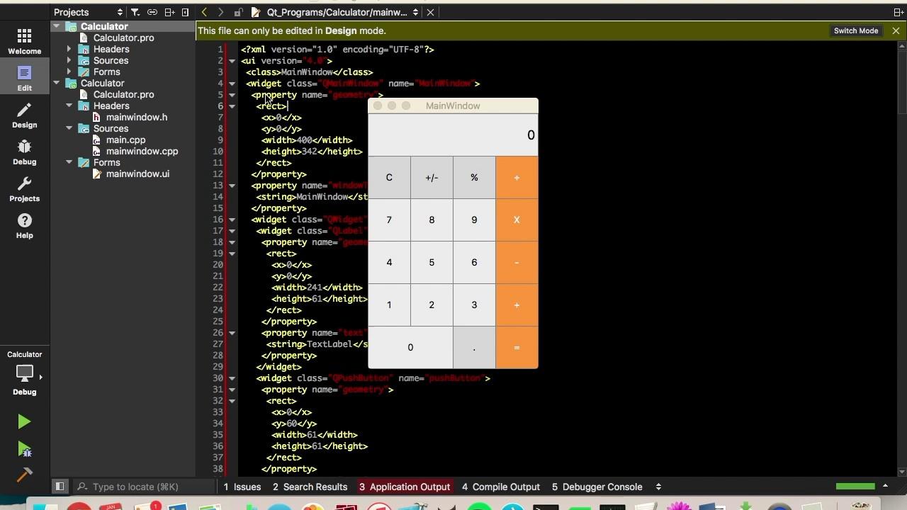Qt Calculator GUI Tutorial Part 1 - YouTube