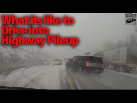 Highway Black Ice Pile Up Car Crash - Onboard When ABS Becomes Useless