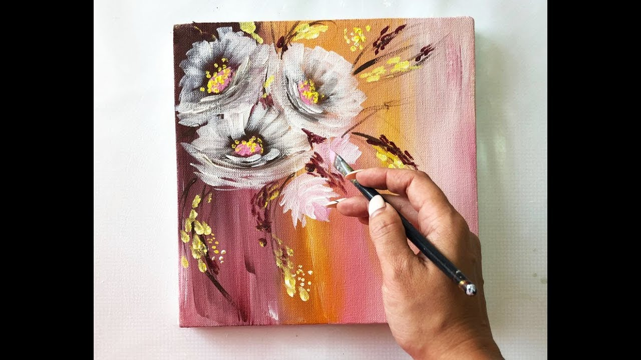 Flowers painting on canvas/Demo /Acrylic Technique on ...