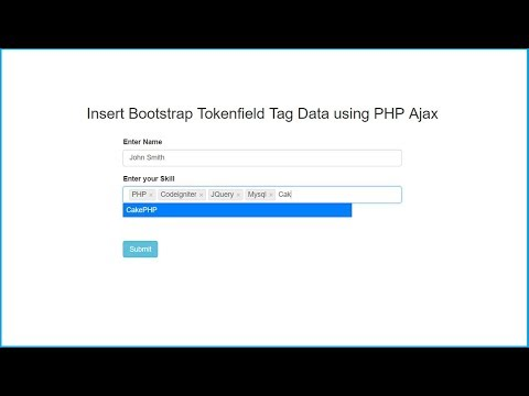 Insert Bootstrap Tokenfield Tag Data using PHP Ajax | Webslesson