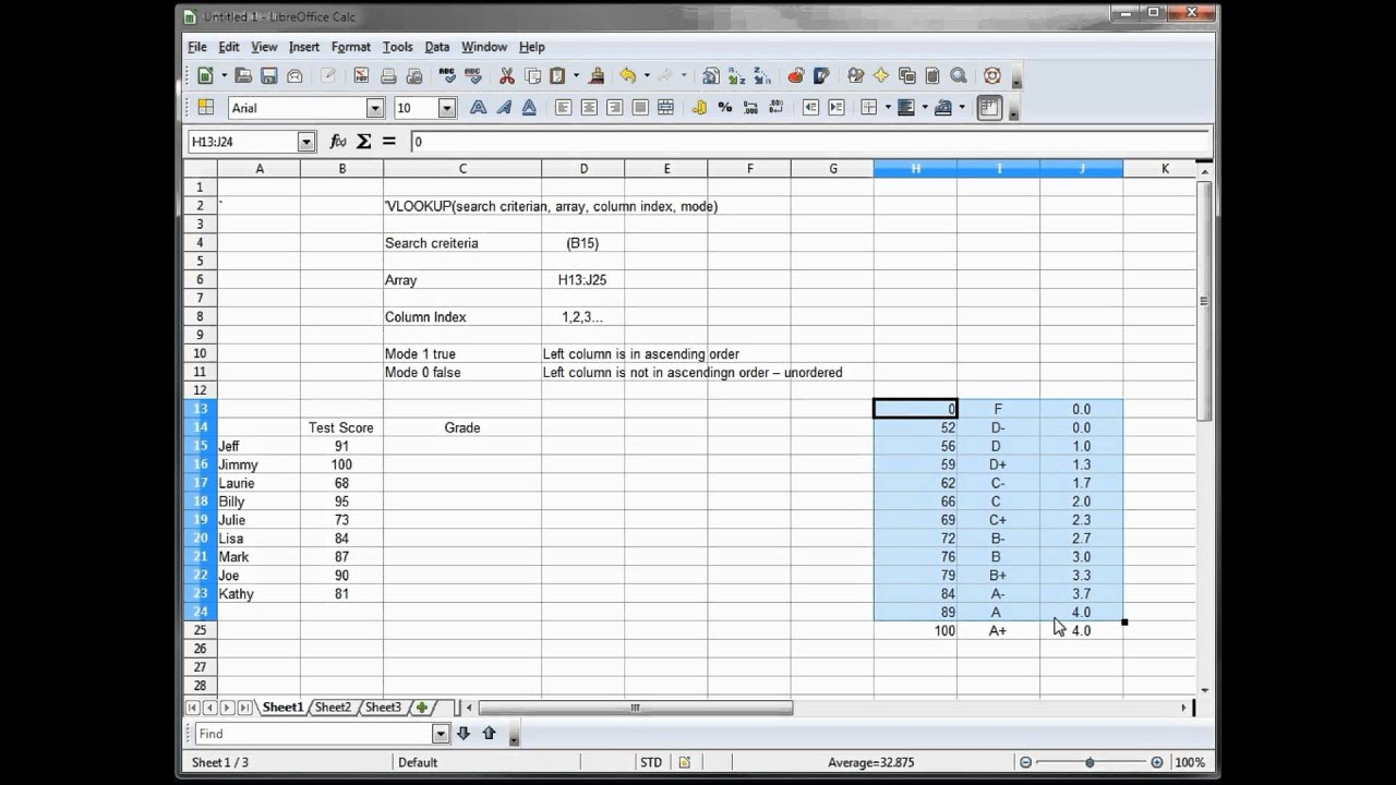 25- libre office - calc  open office -- calc  excel tutorial -- vlookup part 1