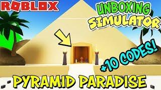 * 10 códigos * e pirâmide paraíso atualização em UNBOXING SIMULATOR (Roblox)-novos ovos!