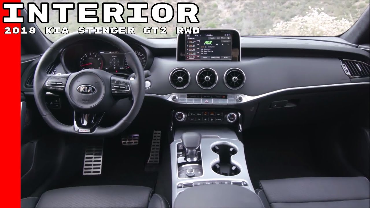 2018 kia stinger gt2 rwd interior youtube. Black Bedroom Furniture Sets. Home Design Ideas