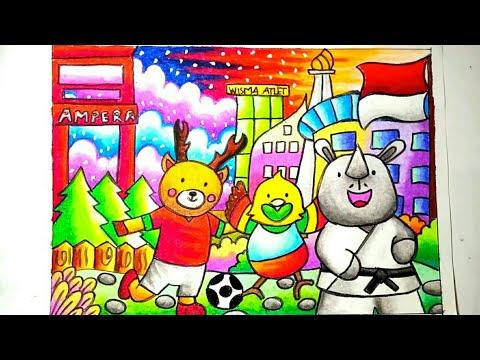 Mewarnai ASIAN Games 2018 | Menggambar Maskot ASIAN Games 2018 | Mewarnai Dengan Gradasi Crayon
