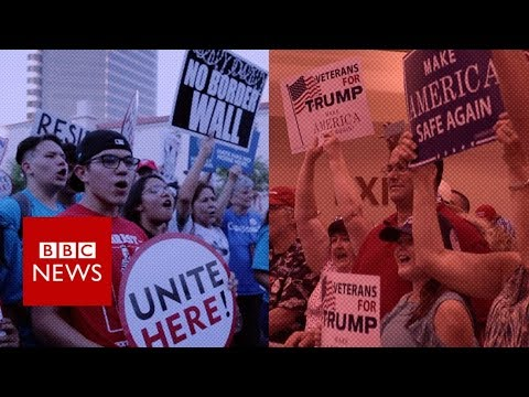 One came to applaud Trump, the other to boo- BBC News