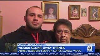 ABC Touts Woman With Gun Scaring Away Three Burglars