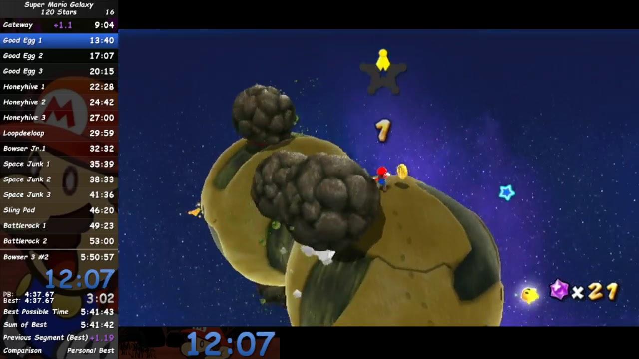 Super Mario Galaxy 120 Stars Mario Speedrun WR in 5:50:40 ...