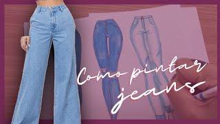 Como desenhar/pintar Jeans | Tecidos | Croqui de Moda