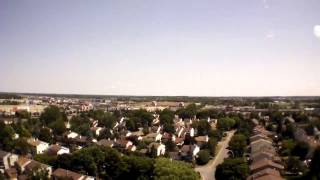 aerial drone with cannon powershot s 250 720 p hd camcorder attached overviewing kanata